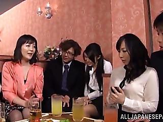 Breathtaking oriental women getting drunk then have group sex