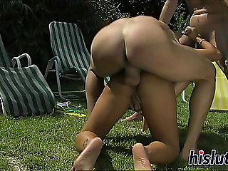 Oriental bint acquires rammed in a group sex