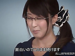Enticing oriental in glasses getting a facial spunk flow