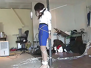 Oriental beauty kidnapped tied and chairtied