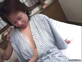 Asian granny enjoys threesome fucking