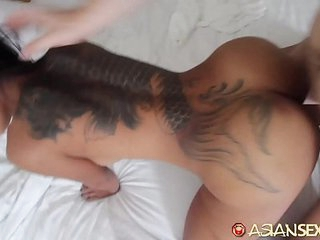 Asian Sex Diary - Slutty looking Asian gets fucked by big white cock