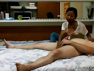 White dude gets sucked by a black young Asian girl