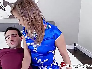 Horny Asian Mail Order Wife Fucks Her Stepson & Squirts On His Cock