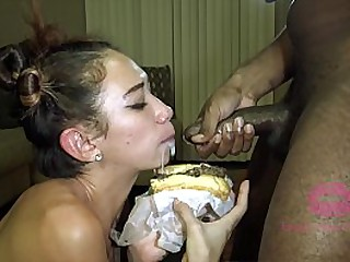 Asian girl gags on black cock and eats cum-covered cheesesteak