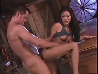 Sexy asian with small tits sucks and fucks a stud like a pro