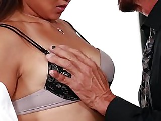 Asian babe executive fucks in office