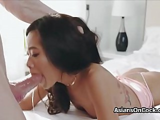 Asian spinner deepthroats fat white cock