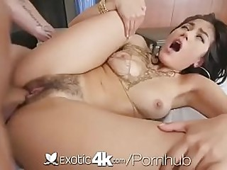 Teen asian love the cock in her hairy pussy