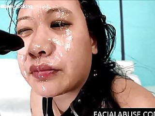 Stupid Asian chick ass pounded while deepthroated to puke