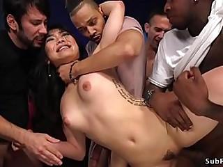 Beautiful and desperately horny Asian babe Nari Park fucking by horny men