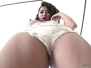 Teen slut with Asian eyes gives the best blowjob
