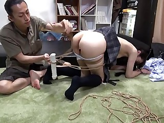 Barely Legal Tiny Japanese Teen Tied, Abused & Fucked By Master