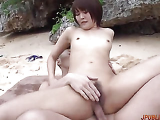 Naughty outdoor group sex with sensual Saya