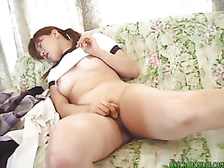 Curvy Hikaru fucks her hairy pussy vigorously on the sofa