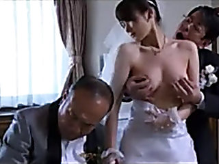 Japanese Milf wife get stripped clothes by boss in front of her husband