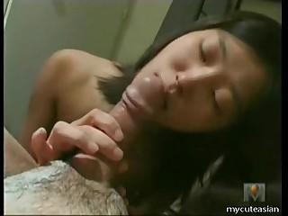Hot Asian big cock blowjob and handjob