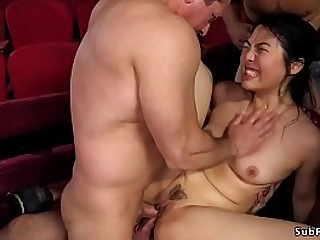 Beautiful and desperately Asian babe Nari Park in theater gangbang anal fucked by group of big cock