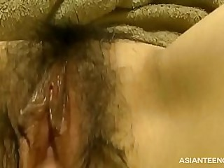 Hairy Asian pussy amateur rubbing, spreading & shagging