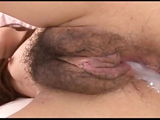Sperm pouring out from asian girl's hairy pussy