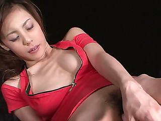 Skinny Asian bitch Natsumi Mitsu dildo fucks herself tough