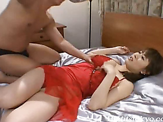 Lusty Oriental cutie Nana Aoyama overspread in lube and drilled hard at Japanese Bitches